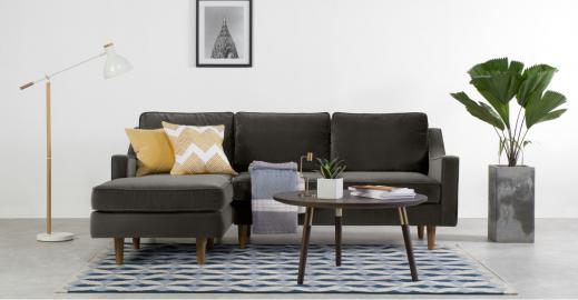 Dallas Ecksofa (Recamiere links), Samt in Betongrau - MADE.com