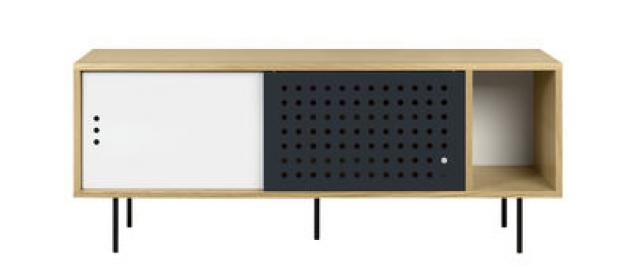 Amsterdam Dots Anrichte / TV-Möbel - L 165 cm - POP UP HOME - Weiß,Anthrazit,Eiche natur