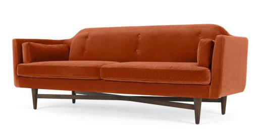 Imani 3-Sitzer Sofa, Samt in Rostorange - MADE.com