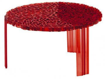 T-Table Basso Couchtisch - Kartell - Rot transparent