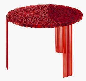 T-Table Medio Couchtisch - Kartell - Rot transparent