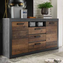 Industrial-Design Sideboard BERLIN-61 in Old Mix Dekor mit Matera grau, B/H/T ca.: 153/87/43 cm