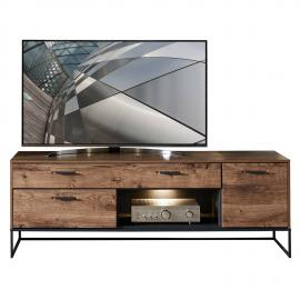 Industrial TV-Lowboard in Haveleiche Cognac mit graphit MINNEAPOLIS-55 inkl. LED-Beleuchtung B/H/T ca: 175/62/48 cm
