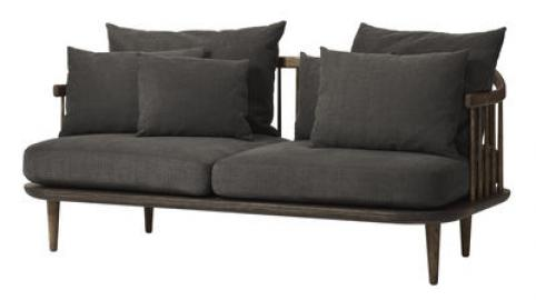FLY Sofa / 2-Sitzer - L 162 cm - And Tradition - Dunkelgrau,Holz dunkel