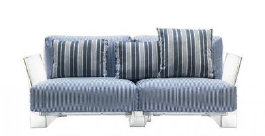 Pop outdoor Sofa / 2-Sitzer - L 175 cm - Kartell - Weiß,Blau,Transparent
